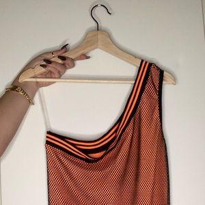 FN mesh neon orange dress